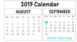 Free August September 2019 Calendar