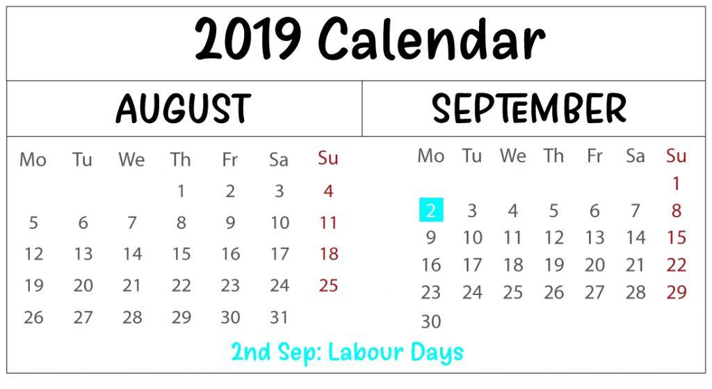 Free August September Calendar