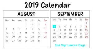 August September 2019 Printable Calendar