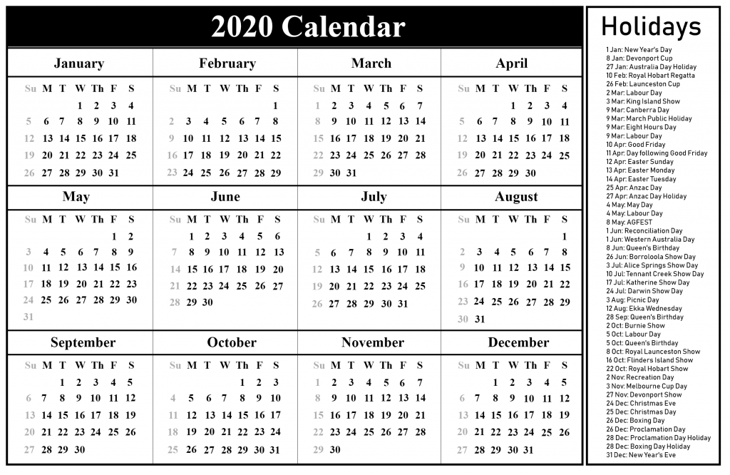 Blank Australia 2020 Holiday Calendar Word Template