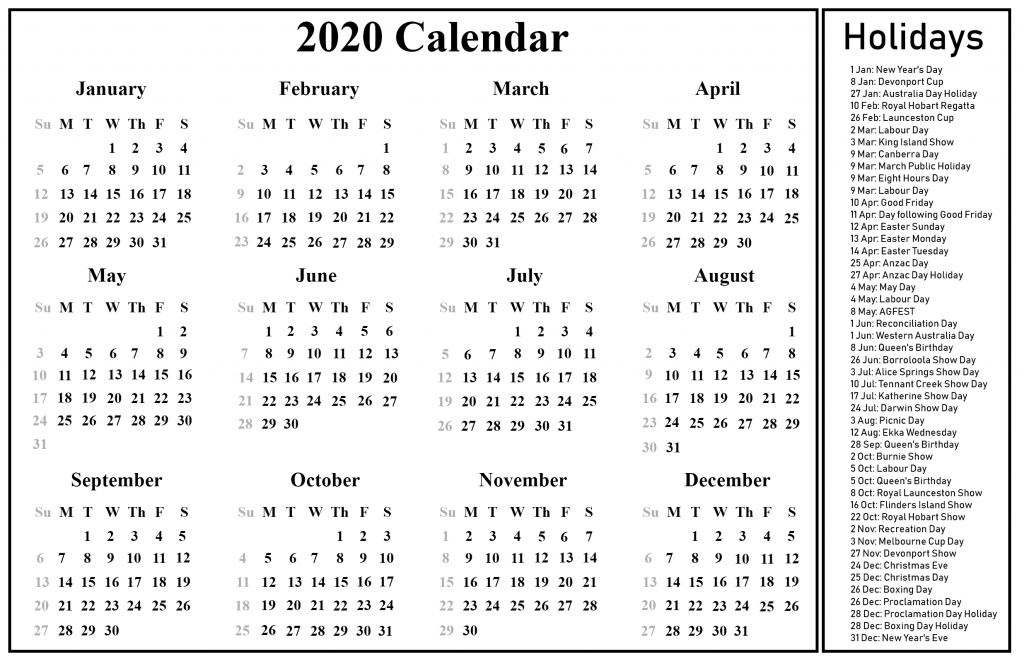 Australia 2020 Calendar With Holidays