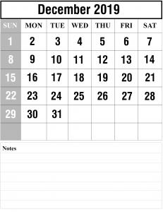 2019 December Calendar Portrait Template