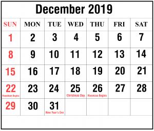 Free 2019 December Calendar Templates