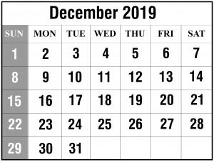Free December 2019 Calendar Template