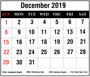 Free December 2019 Calendar With Holiday