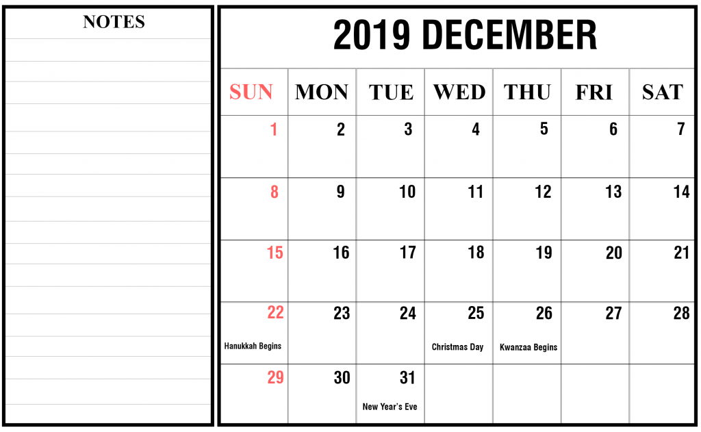 picture relating to Nov Calendar Printable Pdf referred to as Totally free Blank December 2019 Calendar Printable inside PDF, Term