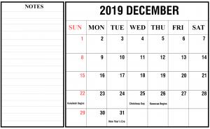Free 2019 December Calendar PDF