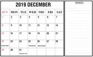 December 2019 Landscape Calendar Template