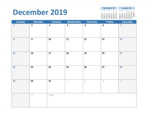 Free December 2019 Excel Calendar Template