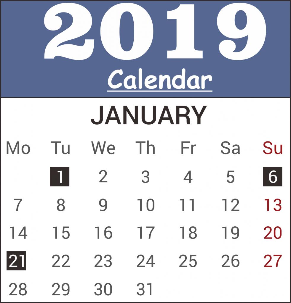 Free January 2019 Calendar Template