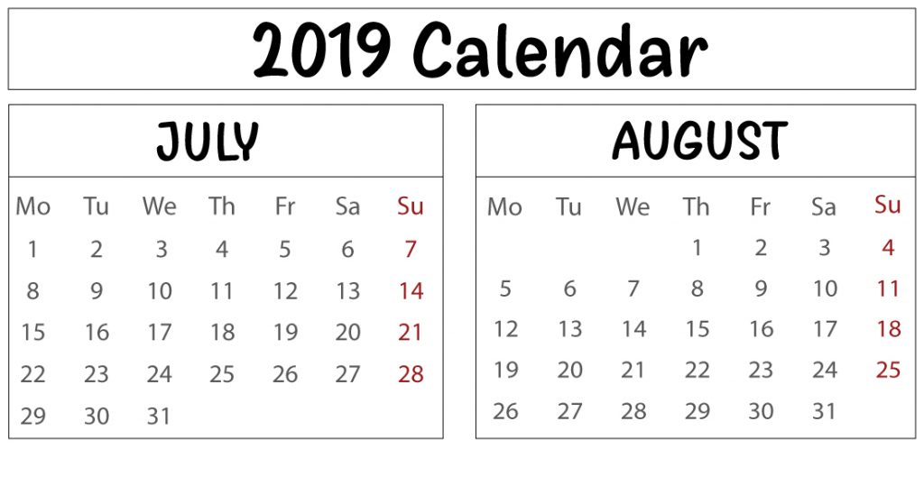 Free July August Calendar Template Download