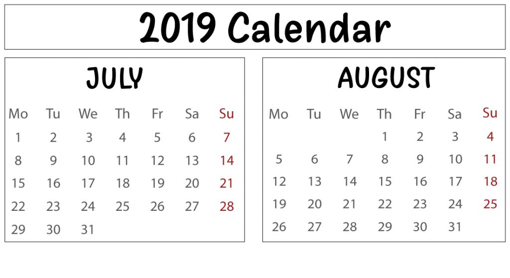 Free July & August 2019 Printable Calendar Template
