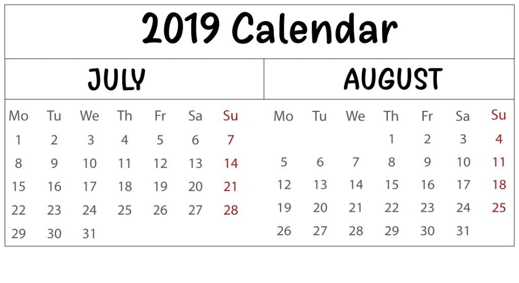 Free July & August 2019 Calendar Template