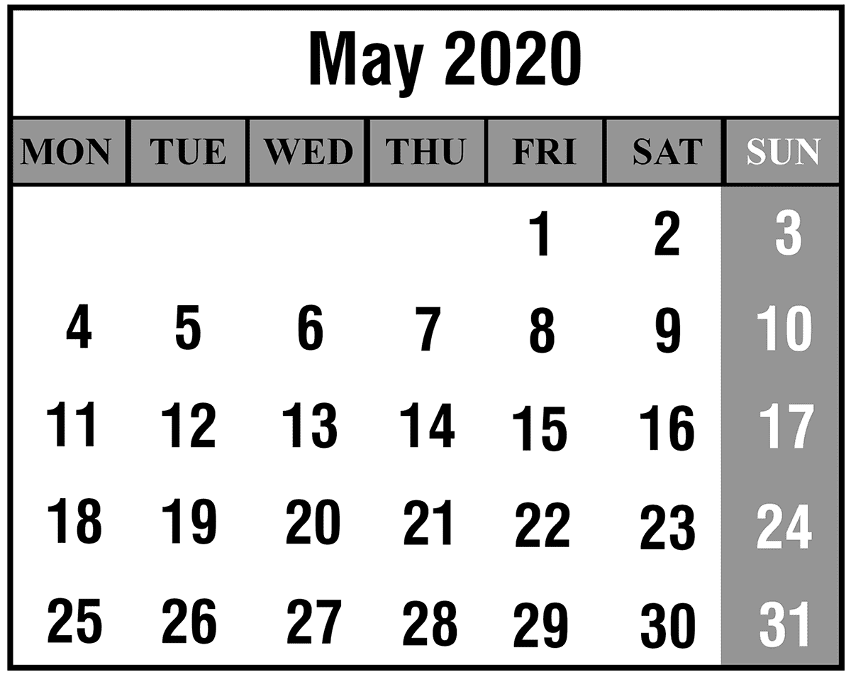 May 2020 Printable Calendar Template