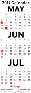 May June July 2019 Printable Calendar