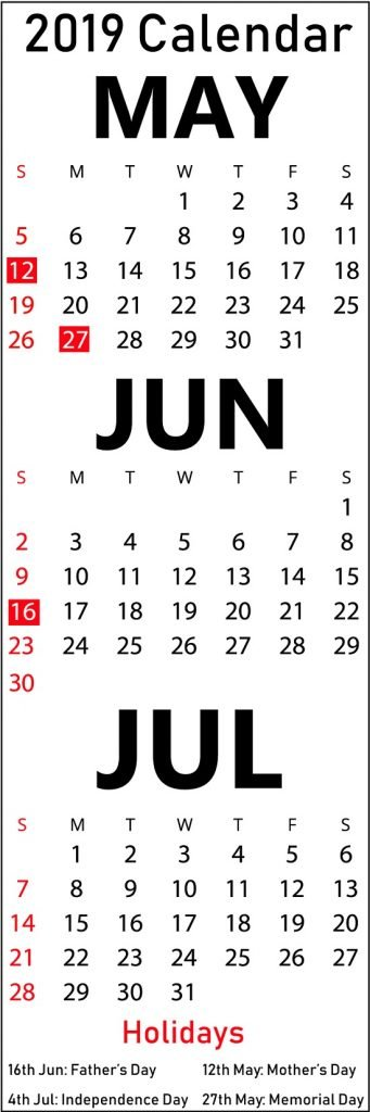 May June July 2019 Printable Calendar