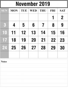2019 November Printable Calendar Template