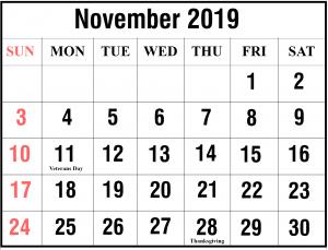 November 2019 Calendar PDF Template
