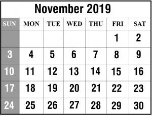 Free 2019 November Calendar Template