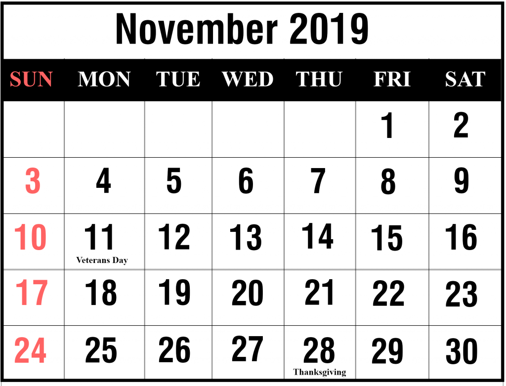 Thanksgiving Day 2019 Calendar Free Blank November 2019 Calendar Printable in PDF, Word, Excel
