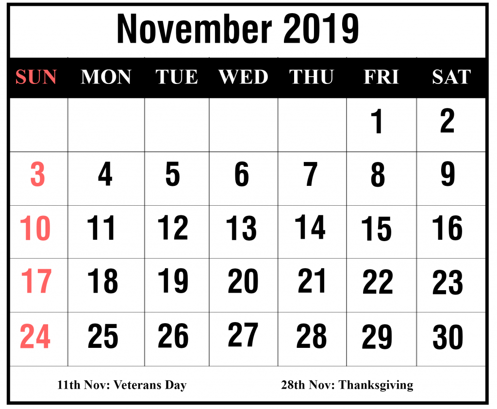 2019 November Portrait Calendar Template