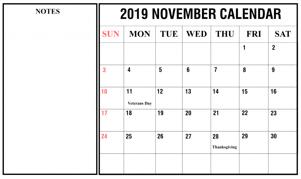 November 2019 Landscape Calendar Template