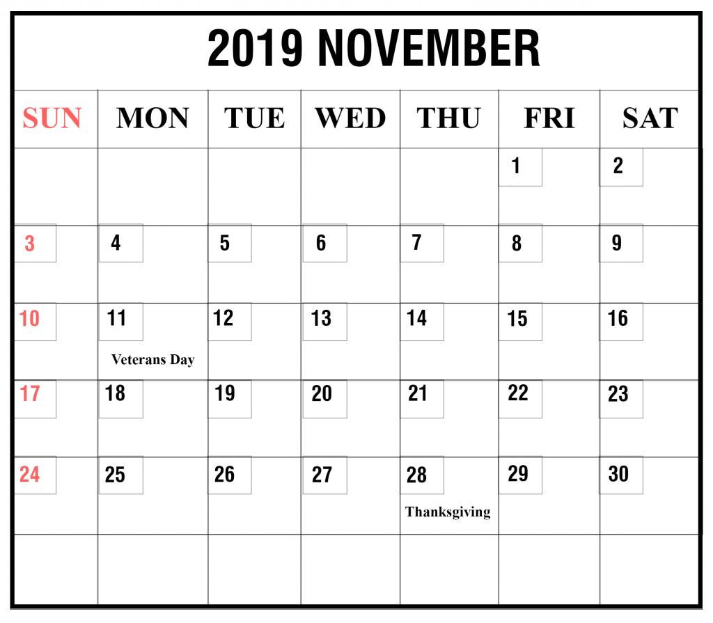 2019 November Blank Calendar Template