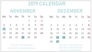 Free November December 2019 Calendar