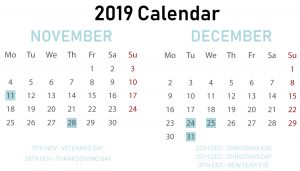 Free November December Calendar