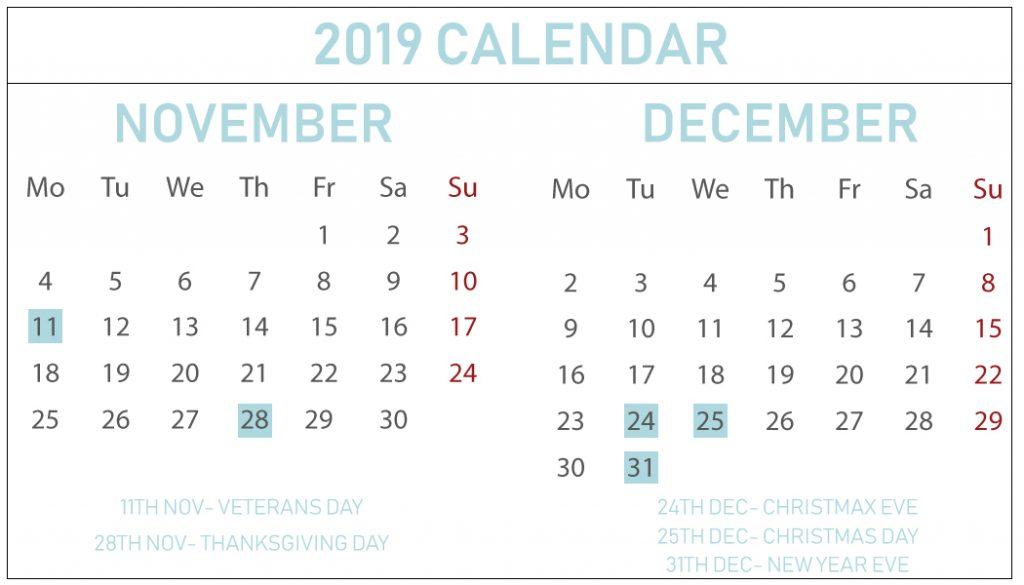 November December 2019 Printable Calendar