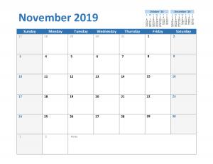 2019 November Excel Calendar Templates