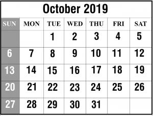 October 2019 Blank Calendar