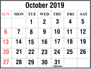 Free October 2019 Calendar With Holiday