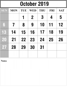 Free October Printable Calendar 2019
