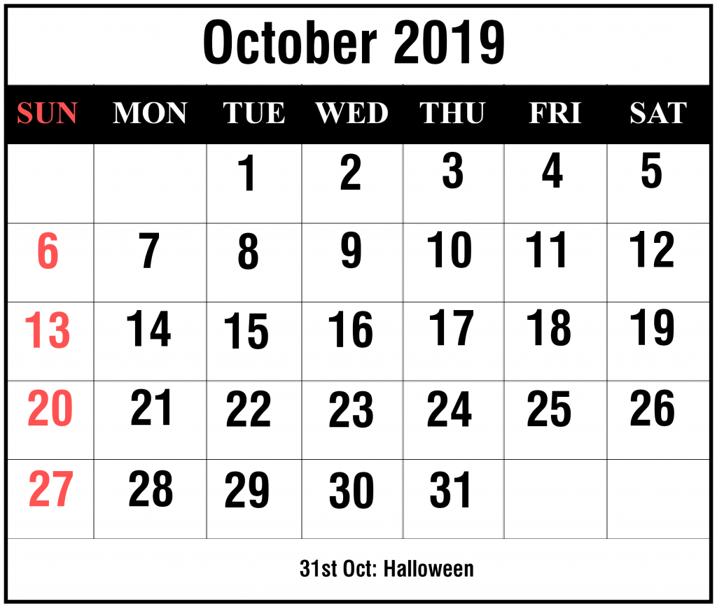picture regarding Free Printable October Calendar named Cost-free Blank Oct 2019 Calendar Printable inside of PDF, Term