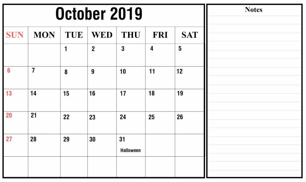 graphic about October Calendar Printable named Cost-free Blank Oct 2019 Calendar Printable inside of PDF, Term