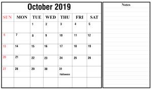 Free October 2019 Landscape Calendar