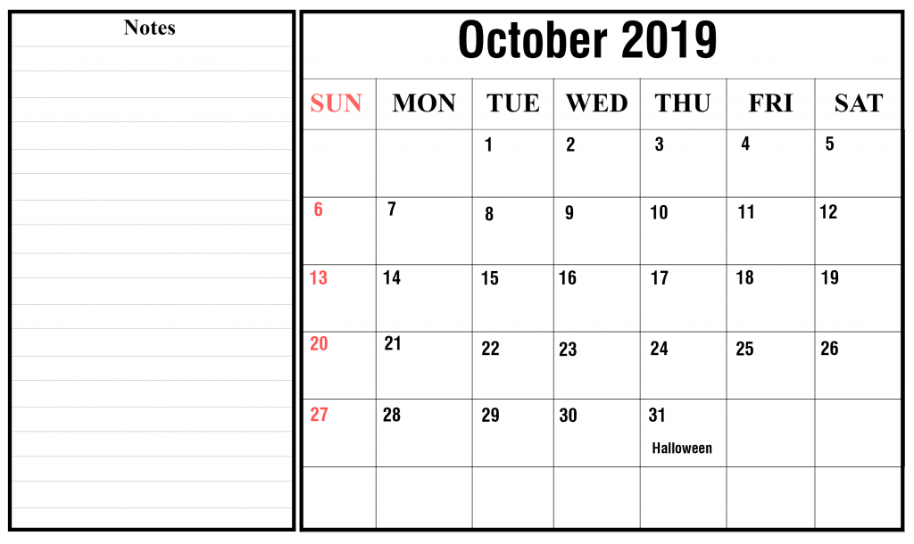 October 2019 Calendar PDF Free