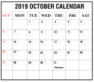 Blank October 2019 Calendar Free