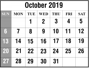 2019 October Portrait Calendar Template
