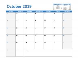 2019 October Excel Calendar Template