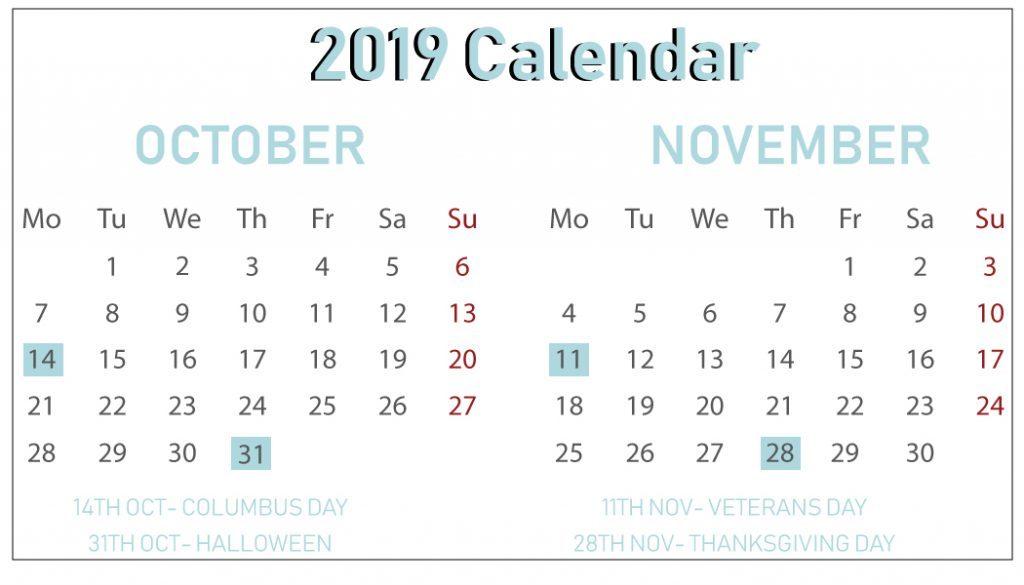 Free October November 2019 Calendar
