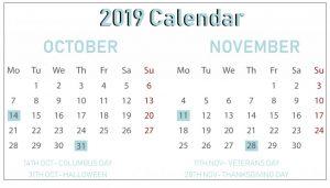 October November 2019 Printable Calendar