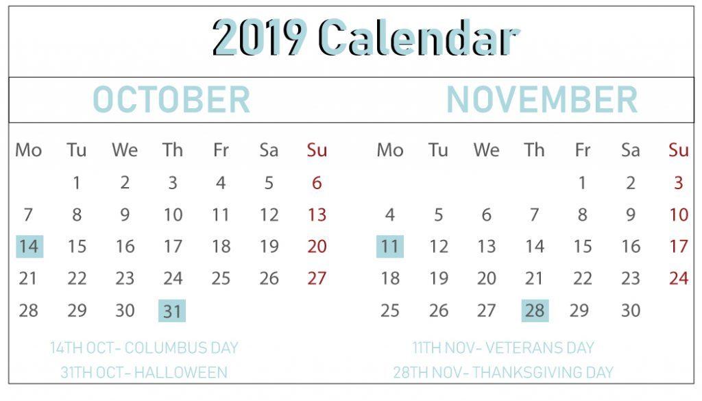 Free October November Calendar