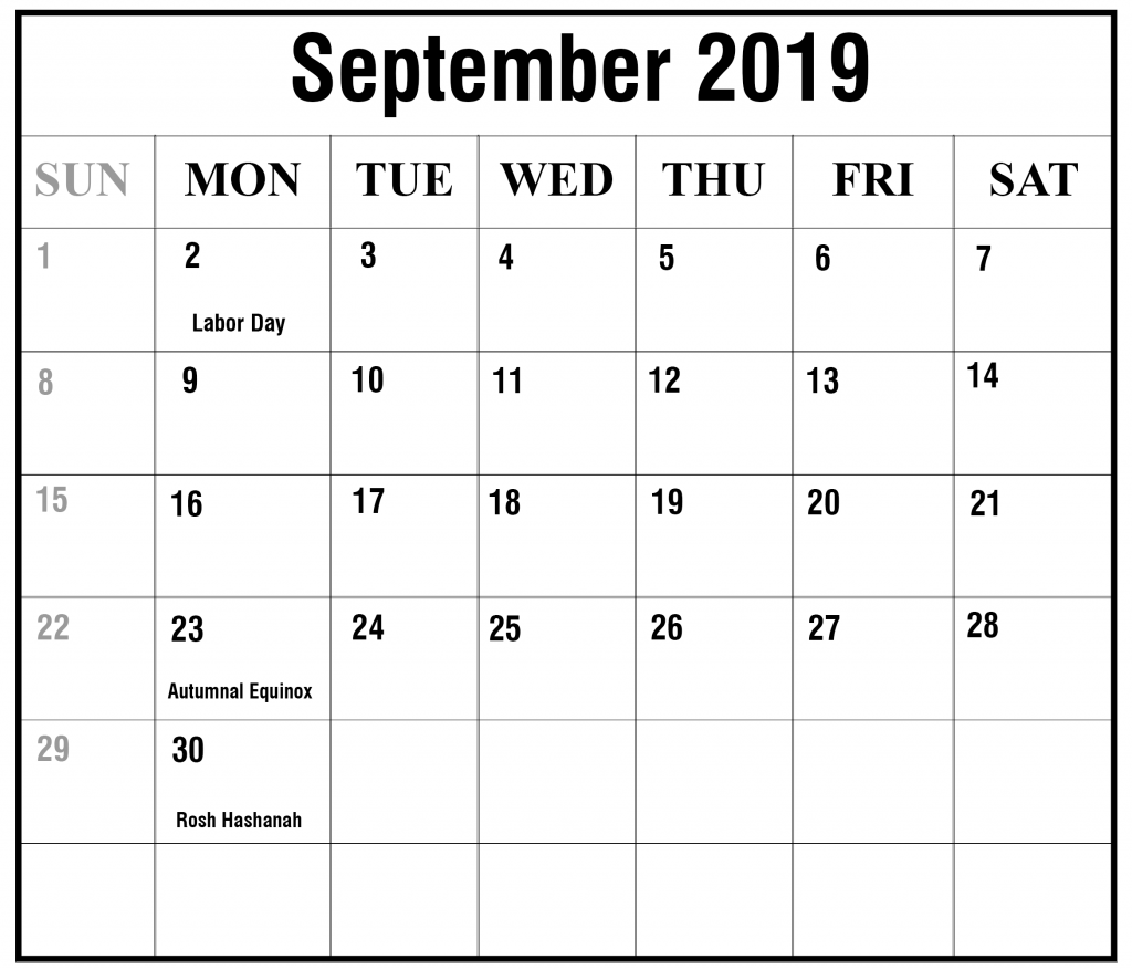 photo relating to Free Printable September Calendar referred to as Absolutely free Blank September 2019 Calendar Printable within just PDF, Term