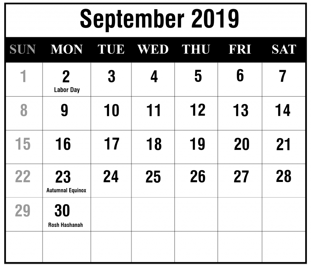 September 2019 Calendar Portrait Template