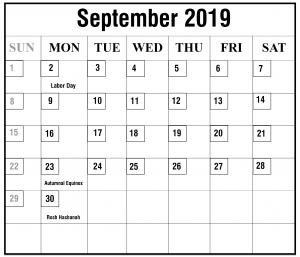 Blank September 2019 Calendar Free