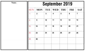 Free September 2019 Calendar PDF