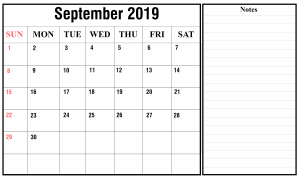 Free September 2019 Landscape Calendar Template