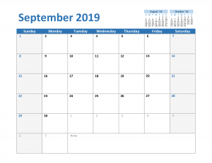 Free 2019 September Excel Calendar